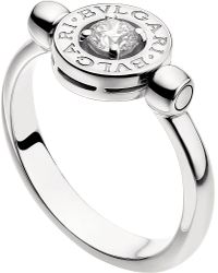 BVLGARI - Metallic - 18kt White-gold And Diamond Flip Ring - Lyst