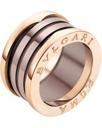 BVLGARI | Multicolor B.zero1 Roma Four-band 18kt Pink-gold And Bronze Ceramic Ring | Lyst