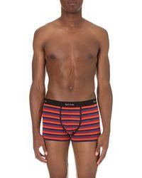Paul Smith - Orange Stripe-print Stretch-cotton Trunks for Men - Lyst
