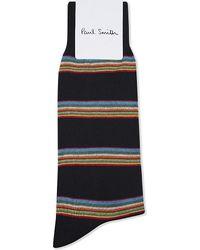 Paul Smith | Blue Multi-stripe Block Cotton-blend Socks for Men | Lyst