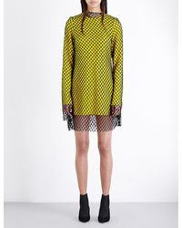 Marques'Almeida Black Mesh-overlay Wool-crepe Dress