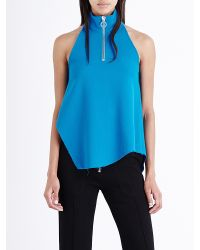 Marques'Almeida Blue High-neck Wool Top