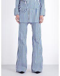 Marques'Almeida Blue Gingham Bootcut Cotton Trousers
