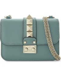 Valentino | Blue Petite Rockstud Lock Mini Leather Shoulder Bag | Lyst