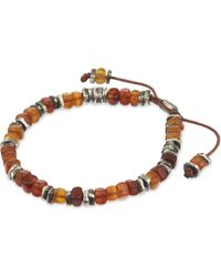 M. Cohen | Brown Amber Stone Silver Disc Bracelet for Men | Lyst