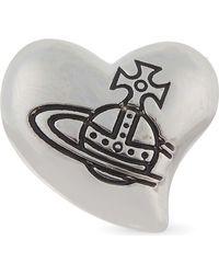Vivienne Westwood Black Caetano Single Heart Stud