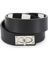 Givenchy | Black Double-wrap Shark Tooth Leather Bracelet | Lyst