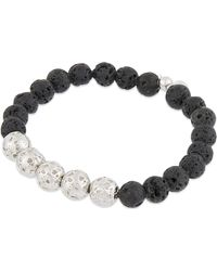 Tateossian | Black Silver Lava Bead Bracelet for Men | Lyst