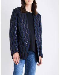 Dries Van Noten Blue Oversized Geometric-jacquard Blazer