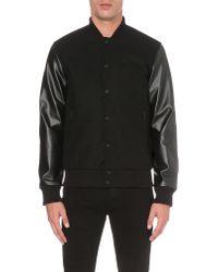 BOY London Black Contrast Wool-blend Varsity Jacket for men
