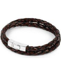 Tateossian | Black Scoubidou Leather Bracelet for Men | Lyst