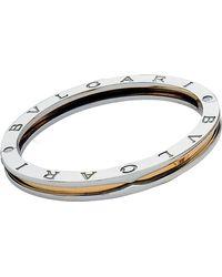 BVLGARI   Metallic B.zero1 18kt Yellow-gold And Steel Bangle Bracelet   Lyst