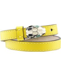 BVLGARI | Yellow Serpenti Double-coil Leather Bracelet | Lyst