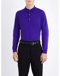 2c5c2cb1 Lyst - John Smedley Bradwell Knitted Polo Jumper in Purple for Men