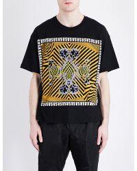 Versus  Black Square-print Cotton T-shirt for men