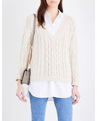 Closed | Multicolor V-neck Chunky-knit Jumper | Lyst