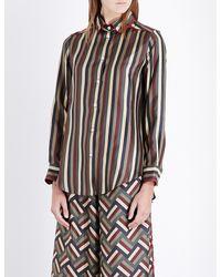 F.R.S For Restless Sleepers | Multicolor Boyfriend Striped Silk-satin Shirt | Lyst