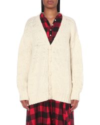 The Elder Statesman - Natural Ted Chunky-knit Cardigan - Lyst