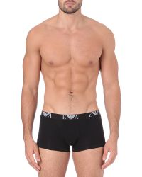 Emporio Armani   Black Two Pack Logo–waistband Trunks for Men   Lyst