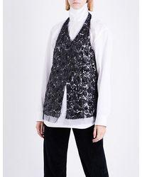 Dries Van Noten Black Chanty Sequin-embellished Tulle Halterneck Top