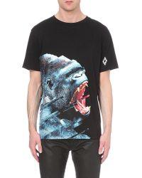 Marcelo Burlon Black Gorilla Print Cotton-jersey T-shirt for men