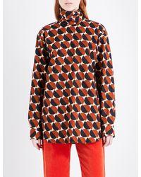 Dries Van Noten Multicolor Conti High Neck Cotton-poplin Shirt