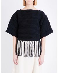 Study Ny - Black Fringed Cotton Cropped Top - Lyst