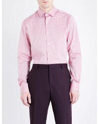 Duchamp | Geometric Tailored-fit Cotton-jacquard Shirt for Men | Lyst