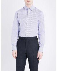 Duchamp | Blue Mini Stripe Tailored-fit Cotton-poplin Shirt for Men | Lyst