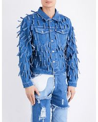 Christopher Shannon Blue Fringed Denim Jacket for men
