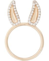 Aamaya By Priyanka - Donkey 18ct Rose Gold-plated And White Topaz Ring - Lyst