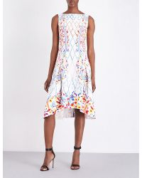 Peter Pilotto   White Graphic-print Stretch-crepe Dress   Lyst