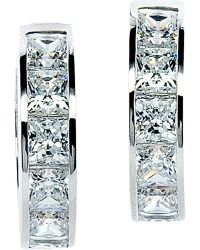Carat* | Princess Channel 9ct White Gold 1.5ct Solitaire Hoops | Lyst