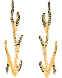 Christina Debs Brown Mother Nature 18ct Pink-gold And Diamond Earrings