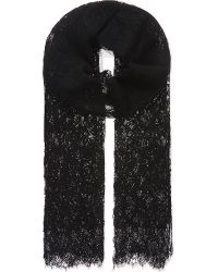 Valentino Black Floral Lace Scarf