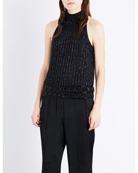 Ganni Blue Quincy Bead-embellished Top