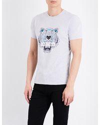 KENZO Gray Tiger-motif Cotton-jersey T-shirt for men