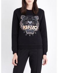 KENZO | Black Tiger-embroidered Cotton-jersey Sweatshirt | Lyst