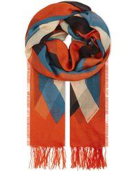 Dries Van Noten Red Multi-tonal Silk And Modal-blend Scarf