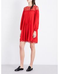 The Kooples | Red Lace-detail Crepe Dress | Lyst