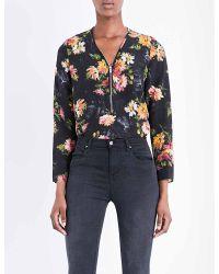 The Kooples | Black Floral-print Silk Top | Lyst