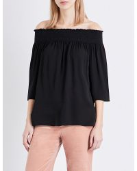Theory | Black Elistaire Off-the-shoulder Silk-satin Top | Lyst