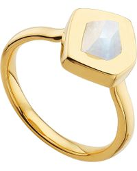 Monica Vinader | Metallic Petra 18ct Gold-plated Vermeil And Moonstone Stacking Ring | Lyst