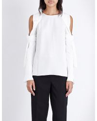 3.1 Phillip Lim White Cold Shoulder Silk Top