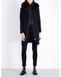 Maje Blue Grafo Wool-blend Coat
