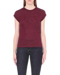 Maje - Multicolor Tom Sheer-yoke Linen-jersey T-shirt - Lyst
