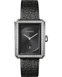 Chanel Multicolor H5318 Boy•friend Tweed Medium Size Steel And Diamond Watch