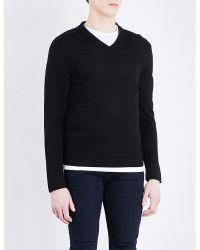 The Kooples - Black V-neck Merino Wool Jumper for Men - Lyst