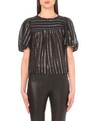 Étoile Isabel Marant Black Sara Metallic Cotton Blouse