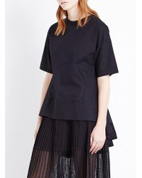 Izzue - Black Pleated Back Poplin Cotton T-shirt - Lyst